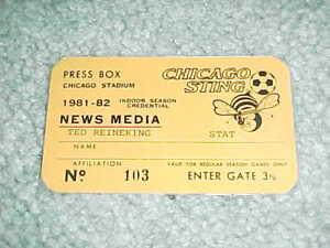 1981 Chicago Sting NASL Indoor Soccer Press Pass Chicago Stadium