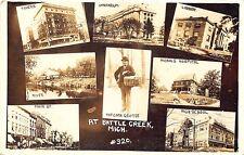 """Battle Creek MI """"Popcorn George"""" Multi-View Train Main Street RPPC Postcard"""