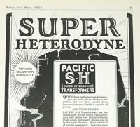 1924 Radio Print Ad - Super Heterodyne Trans. - Baldwin-Pacific & Co. - May 1924