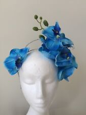 NEW blue orchid fascinator crown on a silver headband!