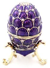 Purple Egg Trinket Box with Stand. Hand Made with Swarovski Crystals & Enamel