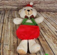 VTG Teddy Bear Christmas Stocking Plush Hanging Decoration Santa Hat