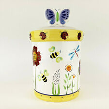 New listing Cookie Jar Ladybug Dragonflies Frogs Raised Designs Hand Painted Bico China