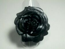 Silver Plated Black Rose Flower Ring New Adjustable Women Fashion Jewelry Cute