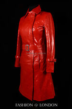 FLORENCE Ladies Trench Coat Red Designer Knee Length Long Leather Coat Jacket704