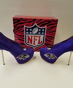 Baltimore ravens woman's purple Crusader high heel bootie shoes 7 1/2
