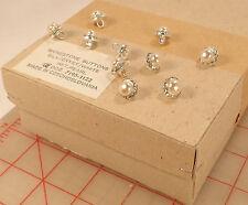 "144 pcs Wholesale vintage Czech rhinestone metal buttons silver pearl 1/2"" 12mm"