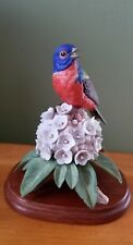 1983 Franklin Mint Painted Bunting Porcelain Bird Figurine