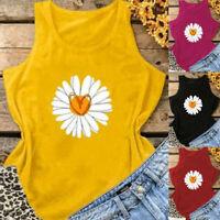 Women Sleeveless Sunflower Print Vest Casual Tank Top Summer Blouse Cami Ceng