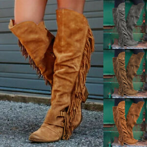 Women's Fashion Casual Retro Fringe Over The Knee Long Boots Square Heels Shoes