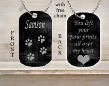 Personalized Custom Necklace Dog Tag You Left Your Paw Prints All Over My Heart