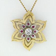 Vintage 14k Two Tone Gold Diamond Ruby Florentine Finish Flower Pendant Necklace