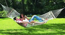 Hammock Cotton Rope Swing Camping Outdoor Patio 2 Person Wide Double Size White