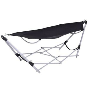 Hammock With Stand Foldable Portable Camping Bed Lightweight Carry Bag Black New