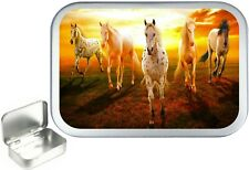 Horse Sunset,Silver Hinged Small Tobacco Tin,1oz / 50ml Tobacco Tin,Sewing Tin