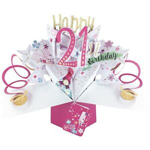 21st Birthday Card 3D Pop Up Card Grand Daughter Sister Female Gift Card