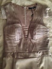 New With Tags Seduce Womens Ladies Cocktail Dress Latte Nude Size 8 Midi Beige
