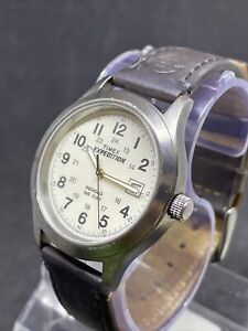 Timex Expedition Mens T49870 Gunmetal Broken Leather Watch #29