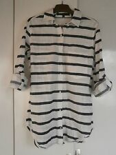Zara 3/4 Sleeve Collared Striped Tops & Shirts for Women