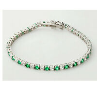 4ct Round Cut White Diamond & Emerald 14K White Gold Finish Tennis Bracelet 7.5""