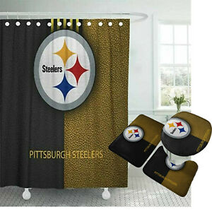 Pittsburgh Steelers Non-Slip Bathroom Rugs 4PCS Shower Curtain Toilet Lid Cover