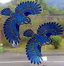 WICOART WINDOW COLOR STICKER CLING FAUX STAINED GLASS LOT 2 OISEAUX BIRDS
