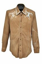 NEW ROBERTO CAVALLI SUEDE LEATHER SHIRT w/ AZTEC EMBROIDERY & HAND PAINT  sz. M