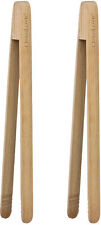 Set Of 2 Birch Wooden Kitchen BBQ Bread Toast Cooking Food Salad Serving Tongs