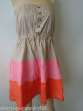 ☆ BNWT NEW Ladies Brown/Pink/Orange Colour Block Short Mini Dress UK 12 EU 40 ☆