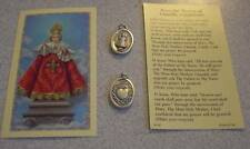Holy Card Infant of Prague Jesus Oxidized Silver Medal and Card Novena Catholic