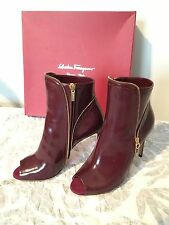 NIB Salvatore Ferragamo dark red Leather High Heel Ankle Boots Shoes Sz 5.5/36