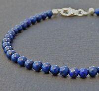 Egyptian Lapis Lazuli  925 Sterling Silver Clasp Mens Bracelet 4mm SALE