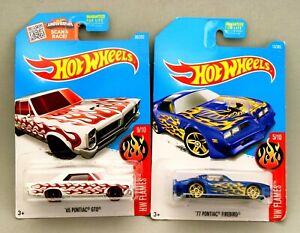 New Hot Wheels Rare Flame Job Pair Pontiacs '65 GTO and '77 Firebird