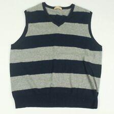 J.Crew V-Neck Sweater Vest CASHMERE Large L Gray Navy Blue Striped Men's