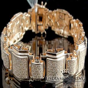 MEN'S ROSE GOLD ON STERLING SILVER 1.5CT GENUINE REAL DIAMOND DESIGNER BRACELET