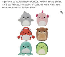 """NEW Squishmallows Squishville 2"""" Sea Life Squad 6 Pack Mystery Pack! Kelly Toy"""