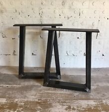 2 Handmade Trapezium Raw Steel Bench Upcycle Furniture Legs Industrial Style