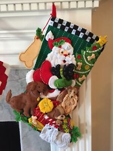 "Bucilla Felt Christmas Stocking SANTA PAWS Finished Lined 18"" Handmade Pets Dogs"