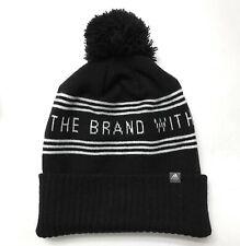 ADIDAS POM BEANIE three stripe winter knit hat black white YOUTH & FITS SM ADULT