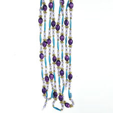 KURT S. ADLER 9 FEET 2.74mm PURPLE & BLUE PEACOCK BEAD CHRISTMAS TREE GARLAND
