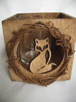 GISELA GRAHAM*TeelichthalterHerbst/Winterdeko aus Holz mit Glaseinsatz*Fuchs*