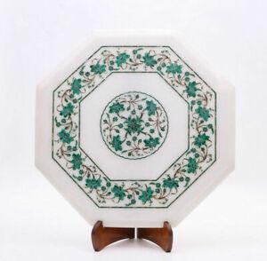 "12"" Marble Table Top Semi Precious Stones Malachite Floral inlay Handmade work"