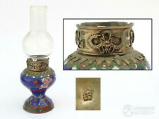c.1900 Antique Chinese Qing Dynasty Cloisonne Opium Lamp Silver Dragon Vase Form