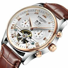 2017 KINYUED Tourbillon Automatic Men Classic Rose Gold Leather Mechanical Wrist