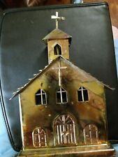 Vintage Sankyo Church Music Box Japan Copper Tin Metal Cross