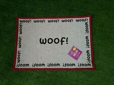 """WOOF Dog Tapestry Feeding Placemat Natural and Black 13"""" x 19"""" Machine Washable"""