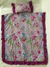 """18"""" Doll Bedding Pillow Bedspread Mod Hippie Style Peace Signs Hearts Stars"""