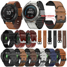 Quick Fit  Leather+Silicone Strap Watch Band For Garmin Fenix 5/5X Plus 6/6X Pro