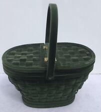 "Woven Green Velour Lidded Basket Hinged Vintage 10"" Tall 13"" Across"