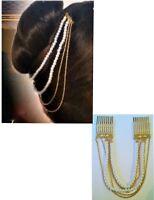 Pearl & Chain Hair Bun Renaissance Medieval  Wedding Costume Accessory   B220